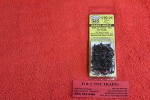 K119-25 Kadee HO scale #119 Whisker shelf head medium centerset shank couplers bulk pack