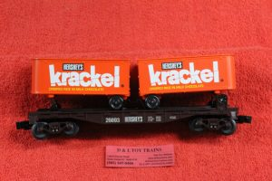 26693 Lionel O scale 3 rail Hershey's Krackle flat car with 2 pup trailers
